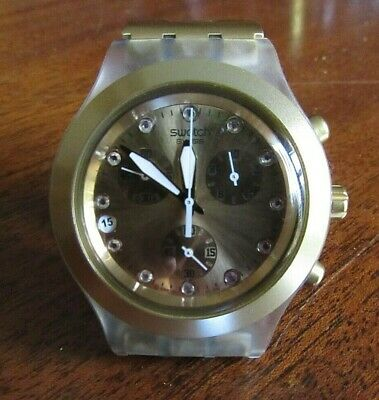 SWATCH Irony Stainless DIAPHANE Chrono 4032G  Gold Box