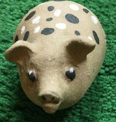"Vtg stone pig figure display hog painted hand CARVED sculpture farm barn GUC 4"""