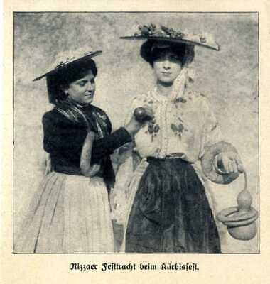 Kürbisfest in Nizza Festtracht beim Fest Ausschnitt von 1909