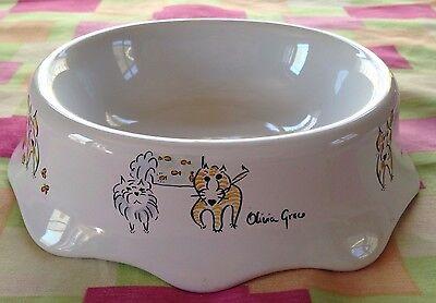 Olivia Greco*Dogma Urban Oval*Cat Bowl*or Small Dog Dish*NEW*ceramic*scalloped