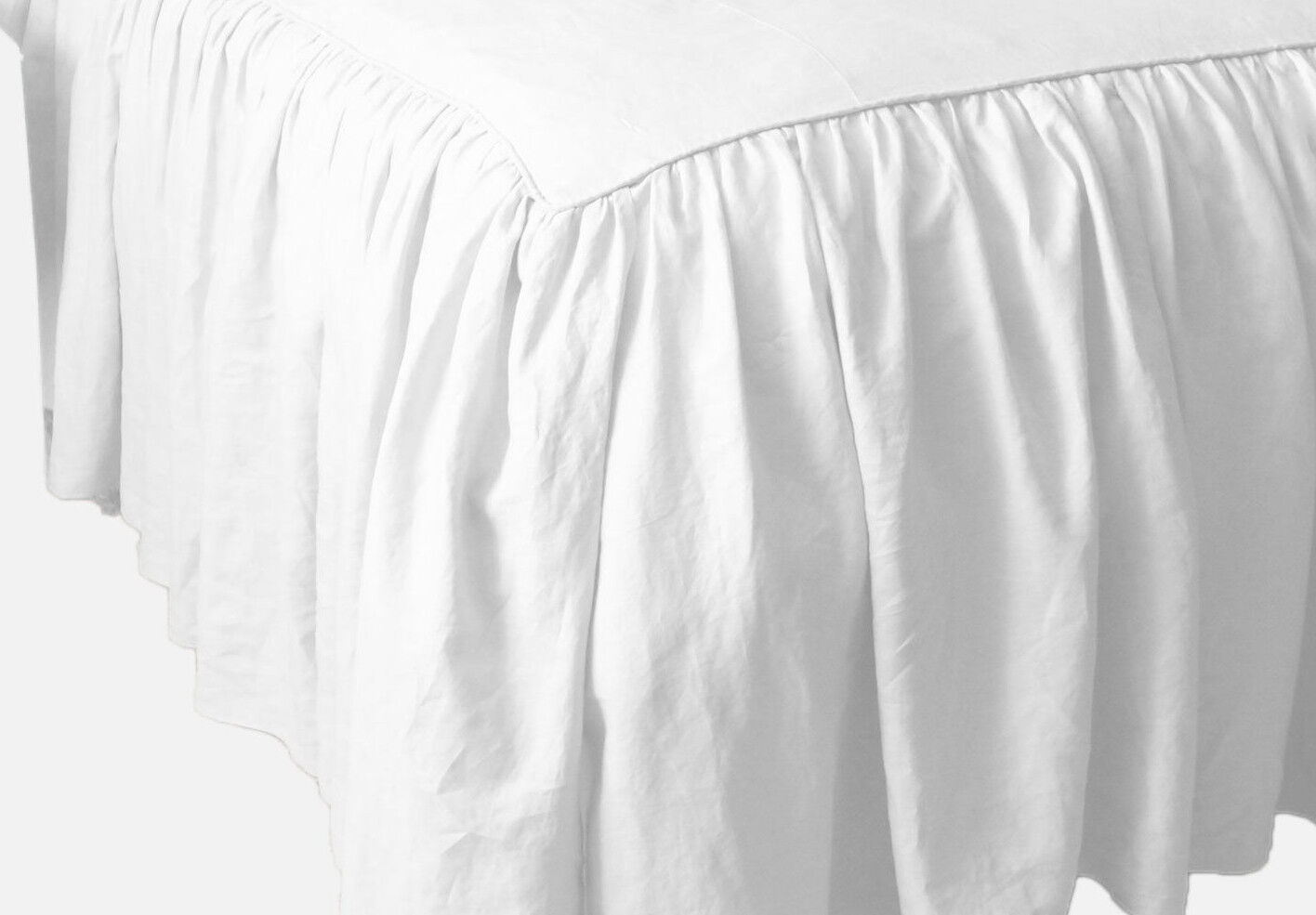 SALE!! DUST RUFFLE BED SKIRT WHITE SOLID 1000 TC COTTON CHOS