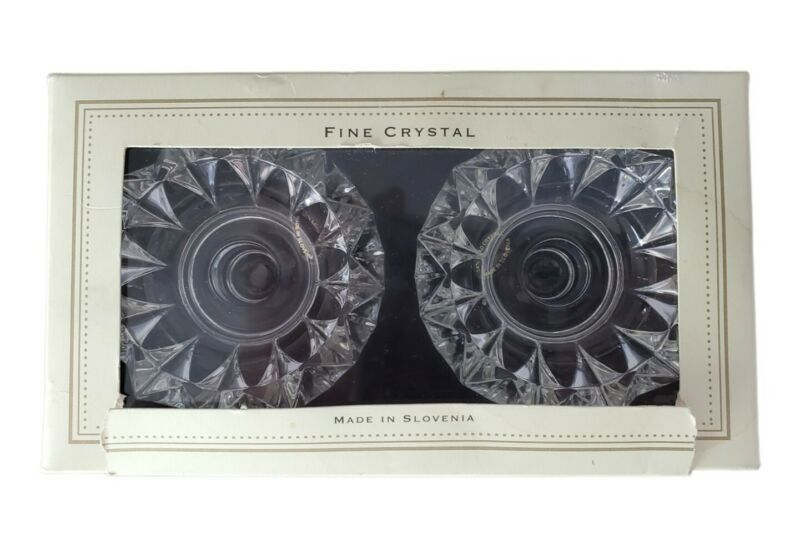 Pair of Bella Lux Fine Crystal Candle Holders With Box Made in Slovenia 24% Led