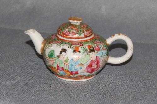 Antique Chinese Export Porcelain Rose Medallion Miniature Tea Pot