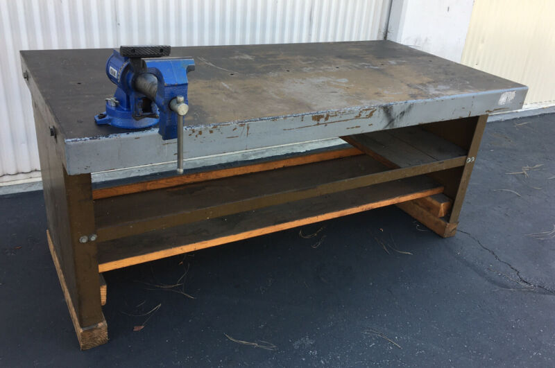"HEAVY DUTY WORK TABLE W Bench Vise-Welding Table 74X 36"" with 5Gauge Steel top"