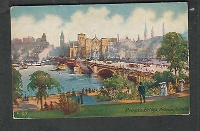 unmailed post card Prince's Bridge Melbourne Australia