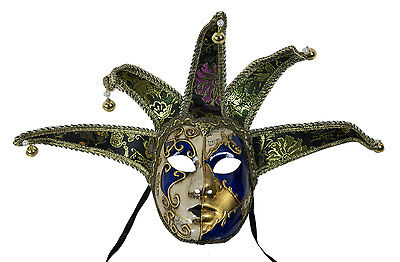Mask from Venice Volto Jolly Blue and Golden 5 Spikes Musica-Disguise - 2172