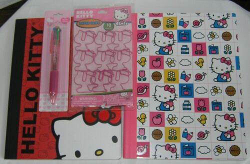Hello Kitty Composition Books (2) Paper Clips Multi Color Ink Pen NEW