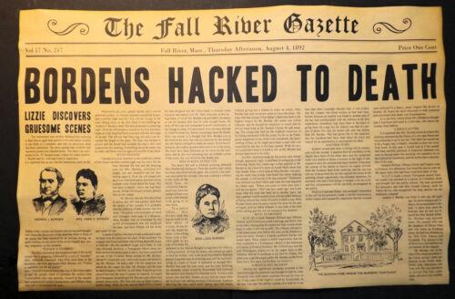 Borden Murders Novelty Newspaper, Lizzie, Axe, Halloween Decor, 11x17, HORIZ.