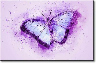 Purple Butterfly Movie (Beautiful Purple Butterfly Picture on Stretched Canvas, Wall Art Décor, Ready)