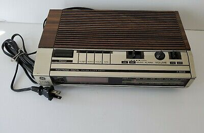Vintage General Electric GE Alarm Clock AM/FM Radio Model 7-4634B