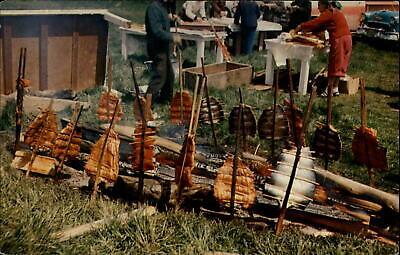 Indian Salmon Bake Pacific Northwest tribes ~ 1950-60s vintage postcard