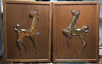 Mid Century Stylized Horse Wall Plaques Wood Plastic set of 2
