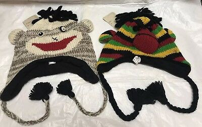 f97a8db0aff8d1 Lot of 2 Sock Monkey 100% Wool Beanie Hats Ear Flaps and Ties Adult