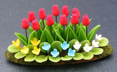 1:12 Scale Tulips & Bedding Plants Dolls House Miniature Flower Garden