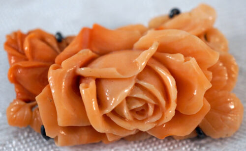 Carved Coral Rose Pin / Brooch Incredible Detail
