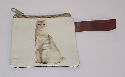 """White Cat Coin Purse Leather Strap New Zippered 4"""" Long Cats Pets Kitten Stripes"""