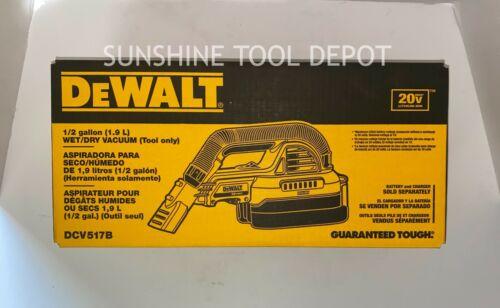 DeWalt DCV517B 20V MAX 1/2 Gallon Wet/Dry Portable Vacuum (Tool Only)