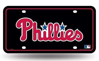 Philadelphia Phillies Black Script Metal Tag Aluminum License Plate Baseball