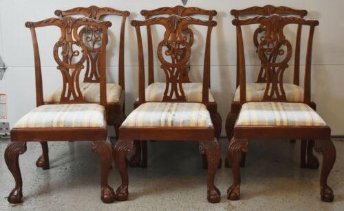 Baker Set of 6 Chippendale Style Mahogany Dining Chairs Ball and Claw Feet