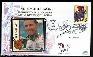 1996-BENHAM-Olympic-GB-Medalists-Cover-signed-Max-Sciandri-Cycling-Road-Race