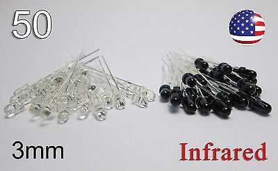 50pcs 3mm Ir Receiver And Emitter Leds 25ea - 940nm Infrared Kit - Remote Diode