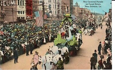 Early 1900's The Rex Carnival Parade, Canal St. in New Orleans, LA Louisiana PC (Canal St In New Orleans)
