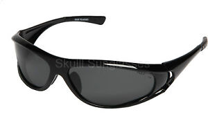Skulll Mens Polarised Black Wrap Sunglasses & Free Case Polarized
