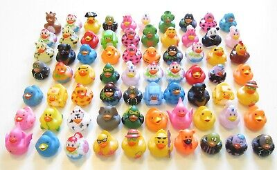 """24 NEW ASSORTED RUBBER DUCKS MINI FLOATING DUCKIES KIDS TOY PRIZE 2"""" SIZE DUCK"""