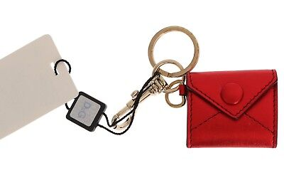 NEW DOLCE & GABBANA D&G Red Leather Metal Ring Hook Logo Keychain Keyring