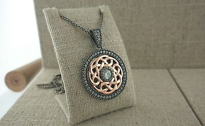 Sterling Silver & 10K Rose Gold Celtic Warrior Pendant CZ by Keith Jack