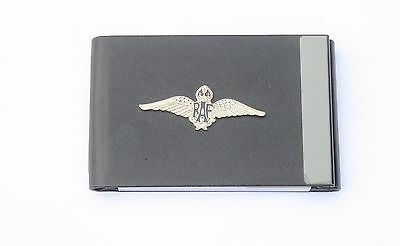 Raf Air Force Wings Black Pu Metal Business Credit Card Holder Gift Bgk2