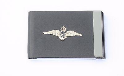 Raf Air Force Wings Black Pu Metal Business Credit Card Holder Gift Bgk2