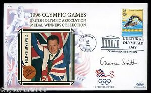 1996-BENHAM-Olympic-GB-Medalists-Cover-signed-Graeme-Smith-Swimming