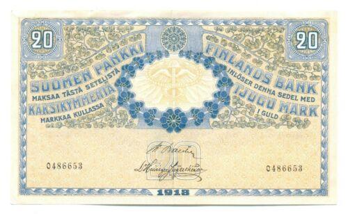 Finland Republic Finlands Bank 20 Gold Markkaa 1918 VF/XF P#38