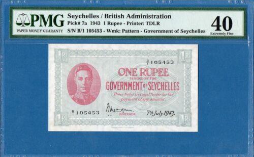 Seychelles/British Administration, 1 Rupee, 1943, EF-PMG40, P7a