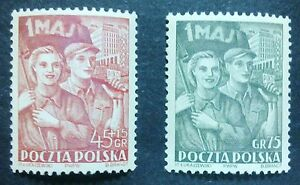 POLAND STAMPS MNH 2Fi598-99 Sc540+B70 Mi736-7 - Labour Day,1952,clean - <span itemprop=availableAtOrFrom>Reda, Polska</span> - POLAND STAMPS MNH 2Fi598-99 Sc540+B70 Mi736-7 - Labour Day,1952,clean - Reda, Polska