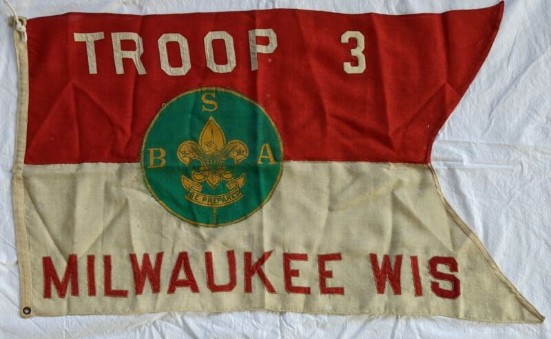 1920s Troop 3 Milwaukee Wisconsin Wis. Swallowtail Flag Boy Scout of America BSA