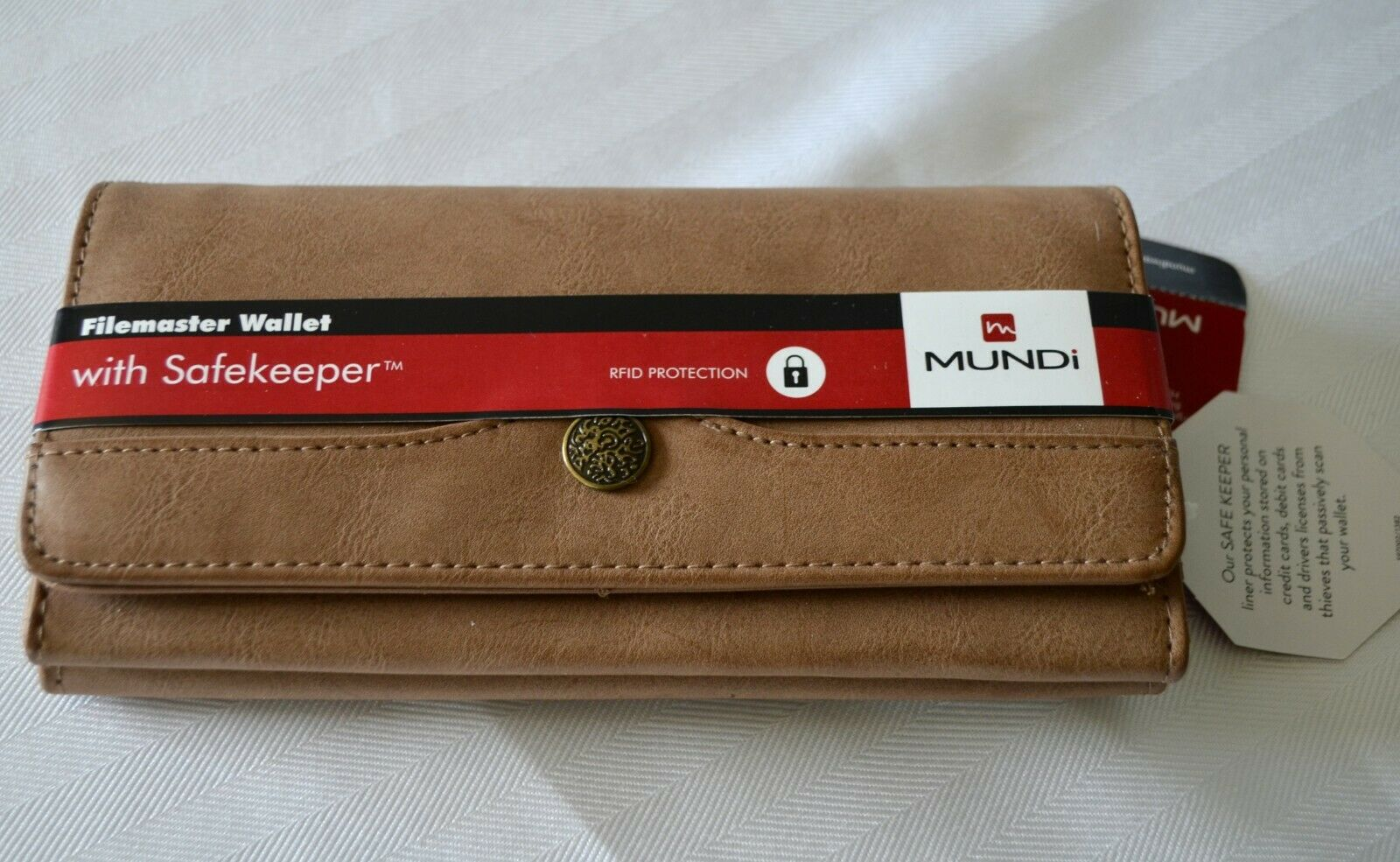 Mundi File Master Safekeeper Wallet Clutch Brown RFID Travel