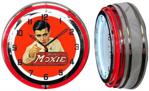"Drink Moxie 19"" Double Neon Clock Red Neon Man Cave Garage Advertising Clock"