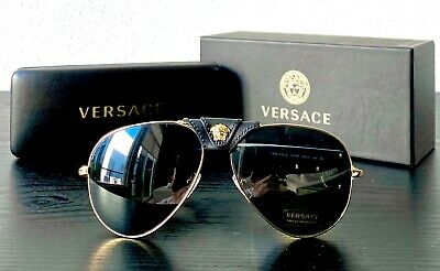 Versace Mens Aviator Sunglasses Black Leather Gold / Dark Gray Lens VE 2150Q NEW