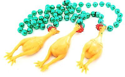 Rubber Chicken Jokes (RUBBER CHICKEN Mardi Gras Bead Gold Necklace Chickens Funny Joke New Orleans)