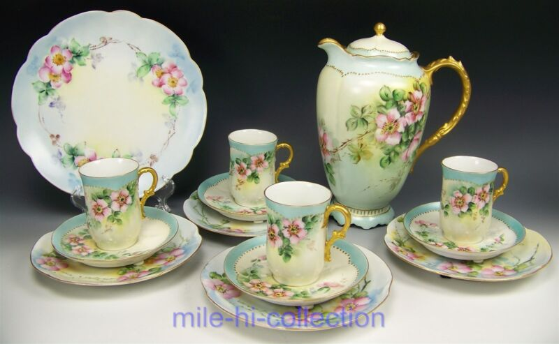 15 PIECES LIMOGES HAND PAINTED ROSES CHOCOLATE POT CUPS SAUCERS DESSERT PLATES