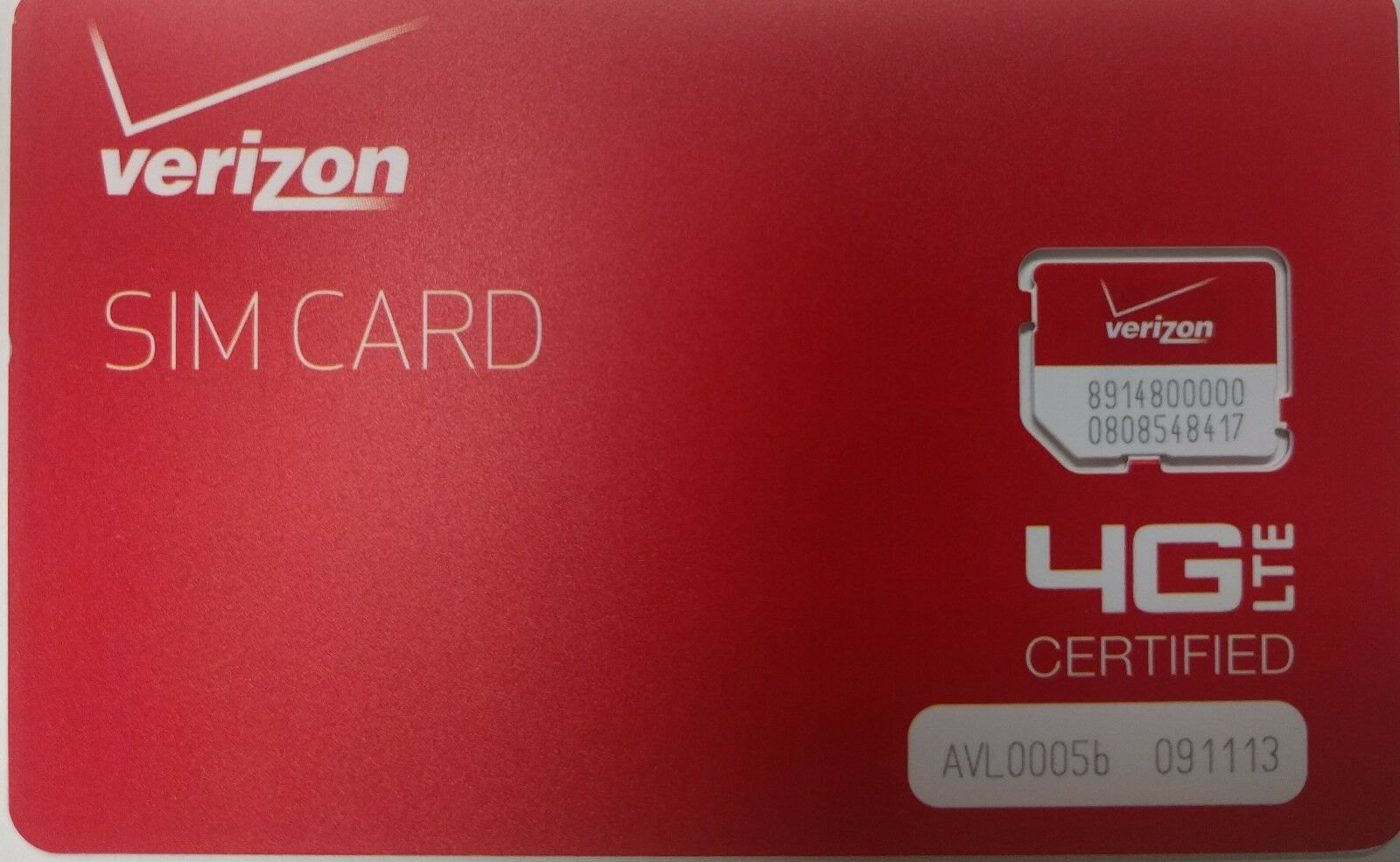 как выглядит SIM-карта для мобильного телефона VERIZON  SIM CARD 4G LTE -  Prepaid or PostPaid - Broadband  NEW. MICRO SIM SIZE фото
