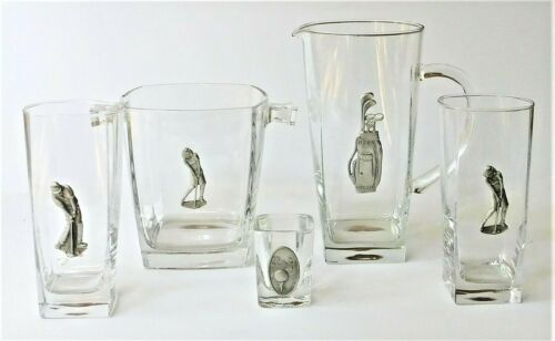 Golf Barware Pewter Emblem Glass Pitcher, Ice Bucket, Glasses Made in France