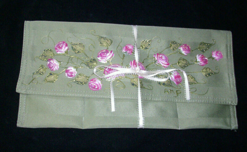 Jewelry Makeup Cosmetics Organizer Travel Bag Hand Painted Floral Dove Signed