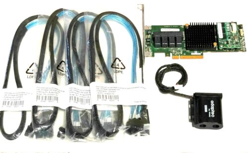 Adaptec ASR 71605 1GB 16Port PCIe Raid w/ Battery & 4x Cables SFF-8643 to SATA