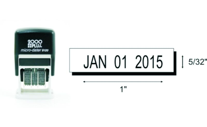 2000 Plus S-120 Rubber Date Stamp - Self-Inking - Black Ink (Date Only)