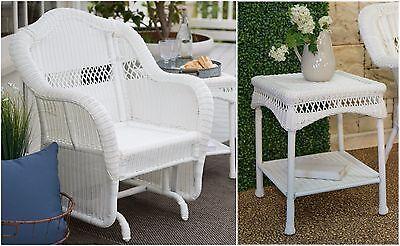 White 2 Piece Resin Wicker Patio Glider Chair Set Outdoor Home Furniture