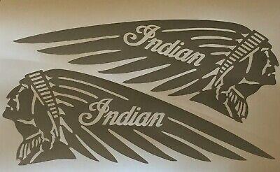 "GUNMETAL Metallic Gray 4.5"" x 12"" Indian Motorcycle Tank Decal Scout Chief L & R"