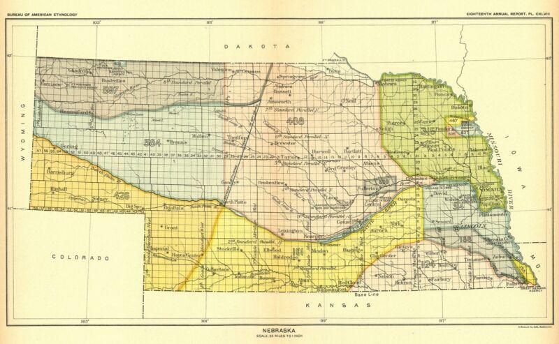 1896 map Nebraska United States Indian land cessions POSTER 41